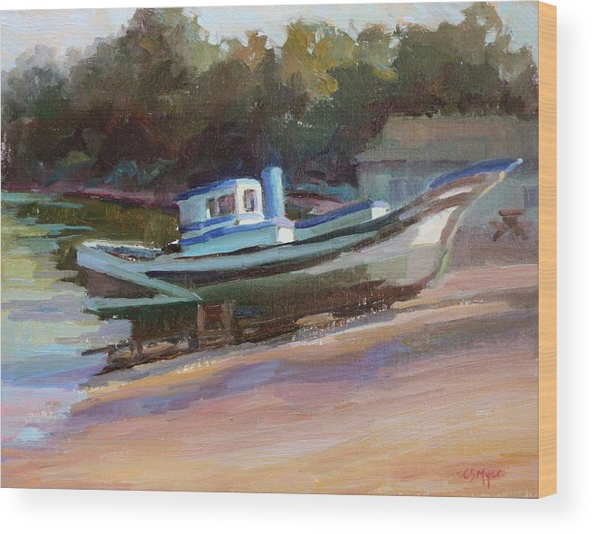 Boat Wood Print featuring the painting China Camp Boat by Carol Smith Myer