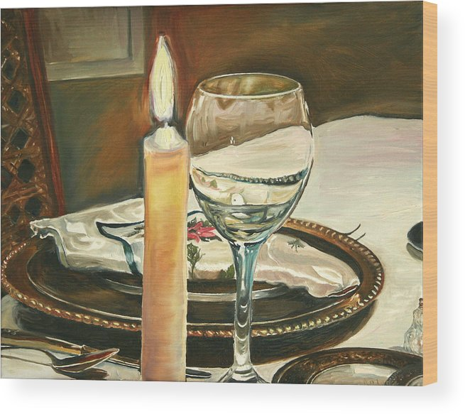 Still Life Wood Print featuring the painting Christmas Dinner With Place Setting by Jennifer Lycke