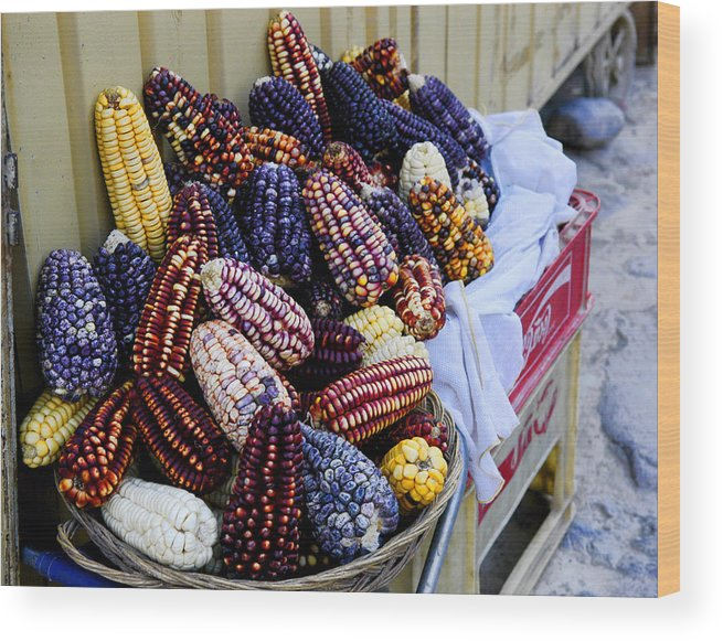 Corn Cob Basket Wood Print featuring the photograph Colorful Corn by Noel Lopez