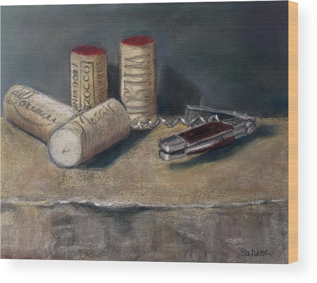 Still Life Wood Print featuring the painting Corks Number 5 by Ellen Minter