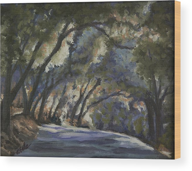 Trees Wood Print featuring the painting Creek Road Oaks by Patricia Cluche