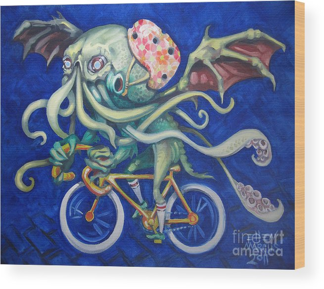 Cthulhu Wood Print featuring the painting Cthulhu On A Bicycle by Ellen Marcus