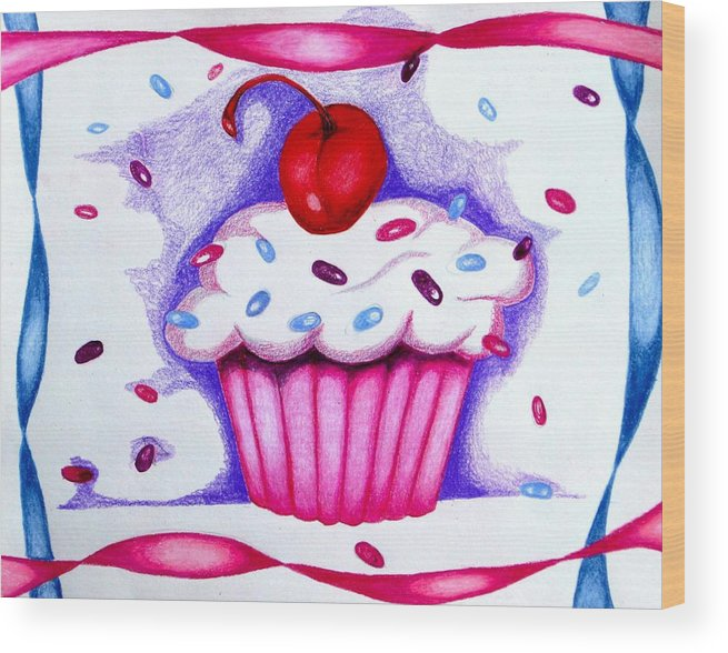 Cupcake Wood Print featuring the drawing Cupcake And Ribbons by Kori Vincent