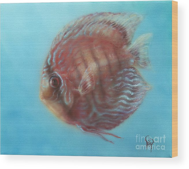 Discus Wood Print featuring the painting Discus by Troy Wilfong