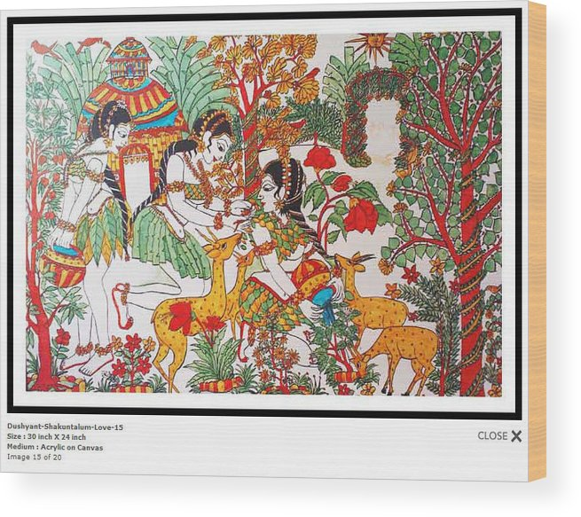 Indian Art Wood Print featuring the painting Dushyant-shakuntalum-love-15 by Bhanu Dudhat