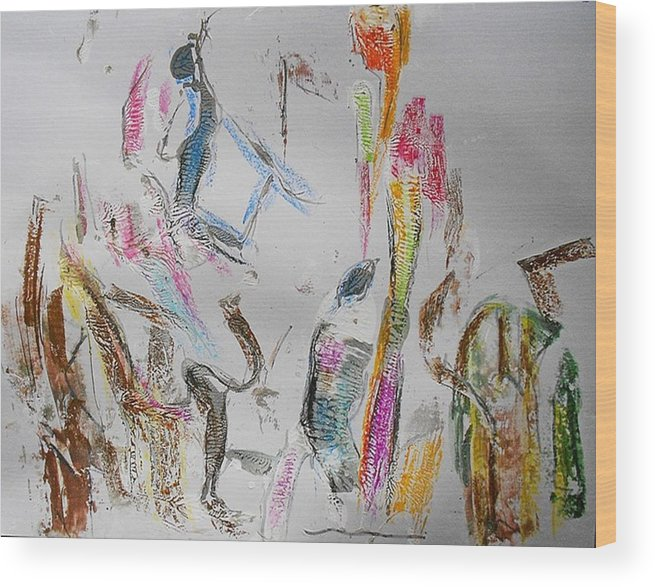 Non-figurative Wood Print featuring the painting Fd278 by Ulrich De Balbian