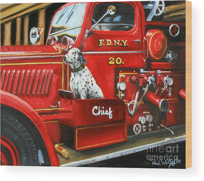 Dalmatian Wood Print featuring the painting Fdny Chief by Paul Walsh