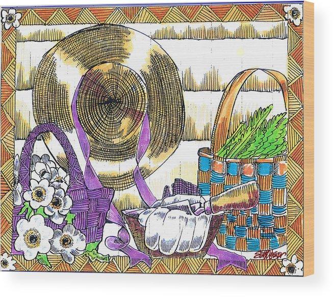 Gardener's Basket Wood Print featuring the drawing Gardener's Basket by Seth Weaver