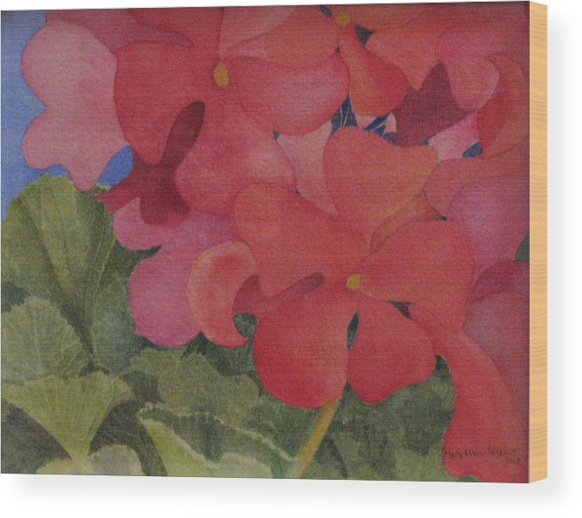 Florals Wood Print featuring the painting Generium by Mary Ellen Mueller Legault