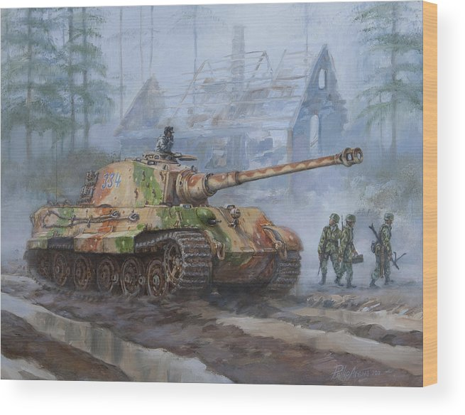 German King Tiger Tank In The Battle Of The Bulge Wood Print