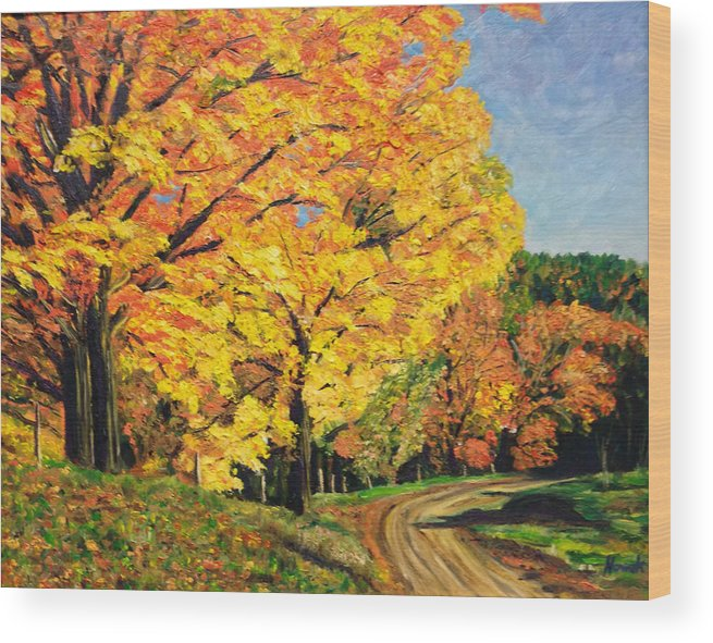 Fall Wood Print featuring the painting Golden Autumn Colors by Richard Nowak