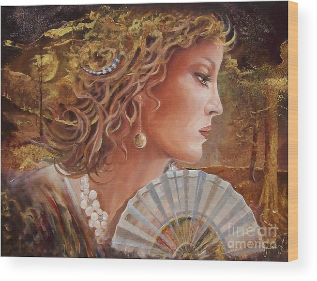 Female Portrait Wood Print featuring the painting Golden Wood by Sinisa Saratlic