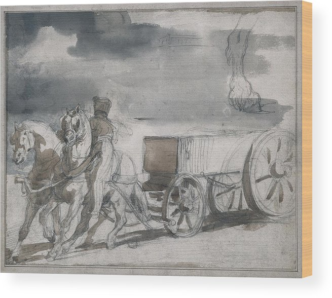 Horizontal Wood Print featuring the photograph G�ricault, Th�odore 1791-1824. Munition by Everett