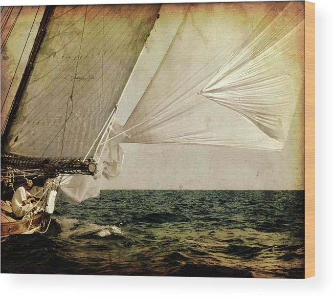 Tall Wood Print featuring the photograph Hanged On Wind In A Mediterranean Vintage Tall Ship Race by Pedro Cardona Llambias