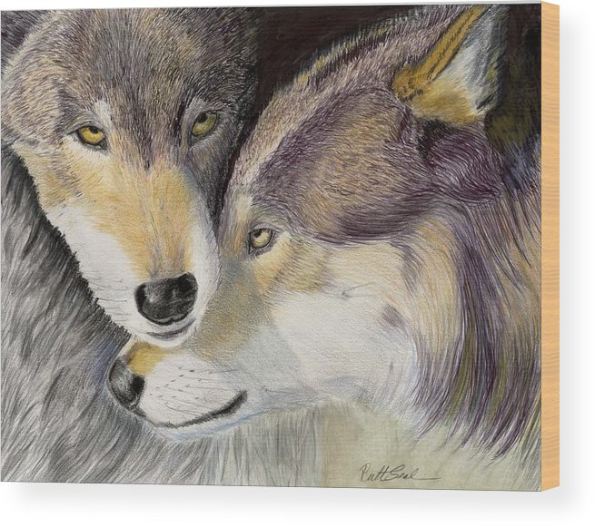 Wolf Wood Print featuring the painting I Love You by Ruth Seal