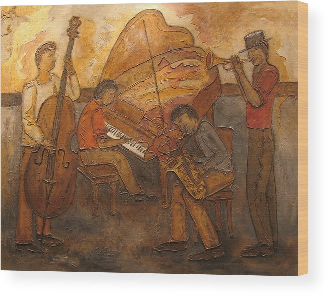 Impressionist Wood Print featuring the painting Jazz Quartet by Anita Burgermeister