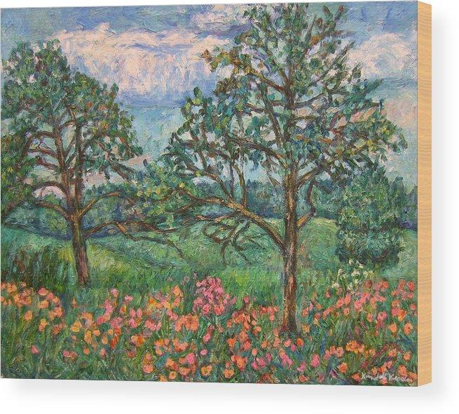 Landscape Wood Print featuring the painting Kraft Avenue In Blacksburg by Kendall Kessler