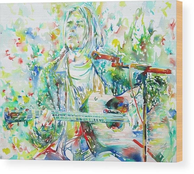 Kurt Wood Print featuring the painting Kurt Cobain Playing The Guitar - Watercolor Portrait by Fabrizio Cassetta