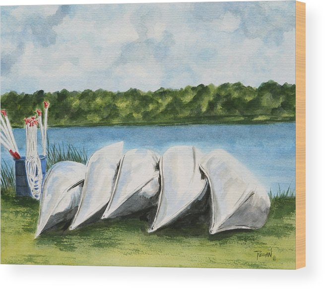 Canoes Wood Print featuring the painting Lazy River by Regan J Smith