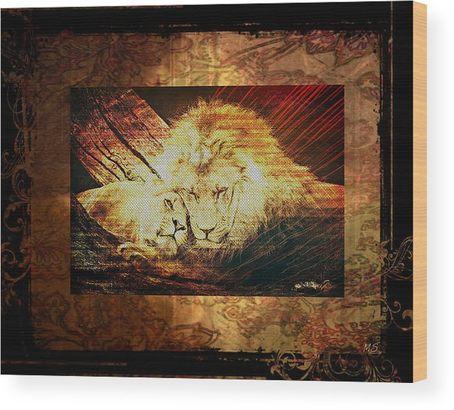 Lion Wood Print featuring the digital art Lion Tapestry - Soulmates by Absinthe Art By Michelle LeAnn Scott