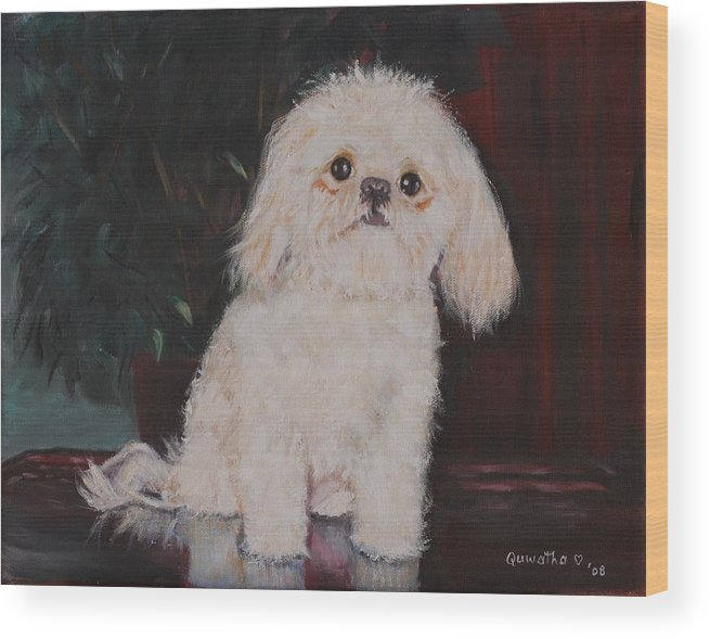 Dog Wood Print featuring the painting Lulu by Quwatha Valentine