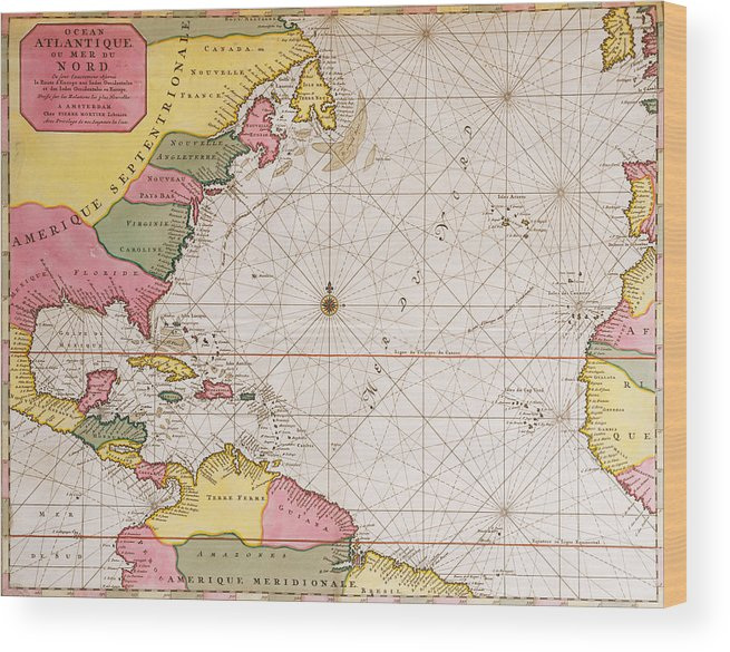Atlantic Coast Florida Map.Map Of The Atlantic Ocean Showing The East Coast Of North America The Caribbean And Central America Wood Print