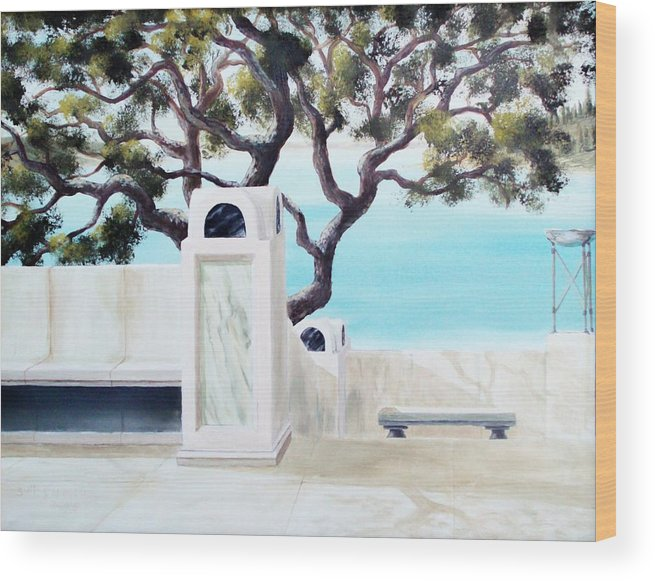 Landscape Wood Print featuring the painting Marble Courtyard by Scott Alcorn