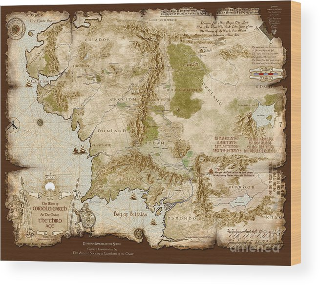 Middle-earth Map Burnt-edges Wood Print by Anthony Forster