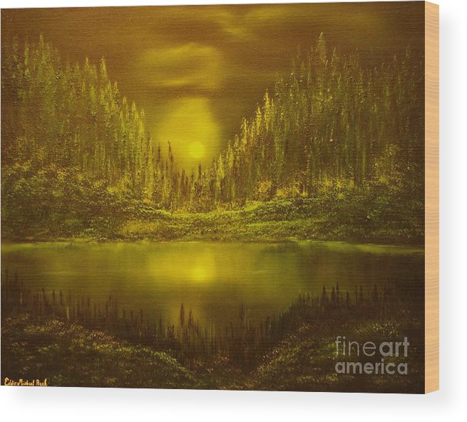 Evening Moonlight Wood Print featuring the painting Moon Lake Reflection-original Sold- Buy Giclee Print Nr 33 Of Limited Edition Of 40 Prints by Eddie Michael Beck