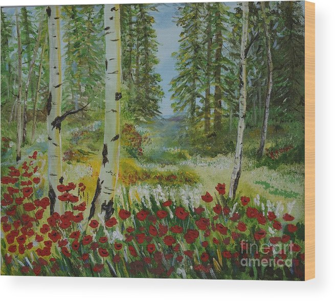 Mountain Wood Print featuring the painting Mountain Poppies by Leslie Allen