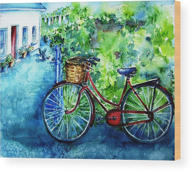 Bicycle Wood Print featuring the painting My Red Bike by Trudi Doyle