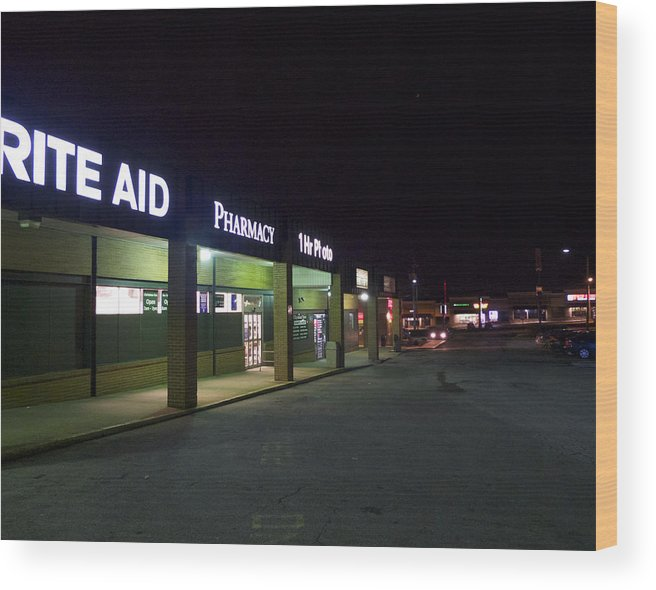 Claymont Wood Print featuring the photograph Night At The Strip Mall by Lois Johnson