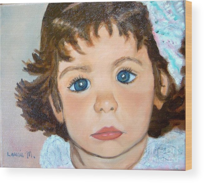 Portrait Wood Print featuring the painting Nikki by Laurie Morgan