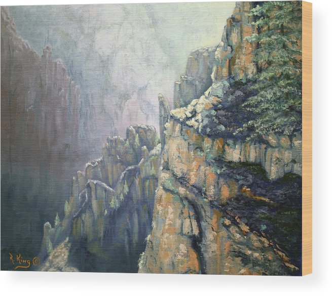 Roena King Wood Print featuring the painting Oil Painting - Majestic Canyon by Roena King