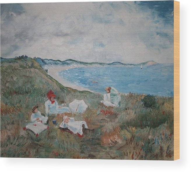 Landscape Wood Print featuring the mixed media Original Copy By Karen Gilmore Of William Merrit Chase's Idle Hours by Karen Gilmore