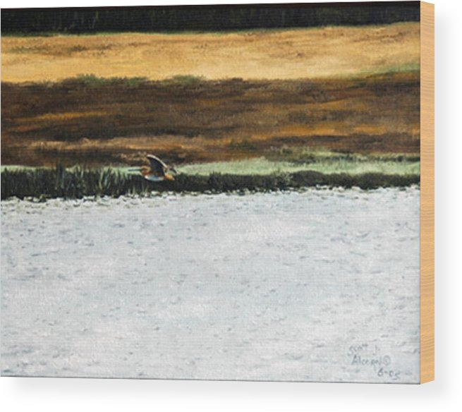 Wildlife Wood Print featuring the painting Over The Marsh by Scott Alcorn