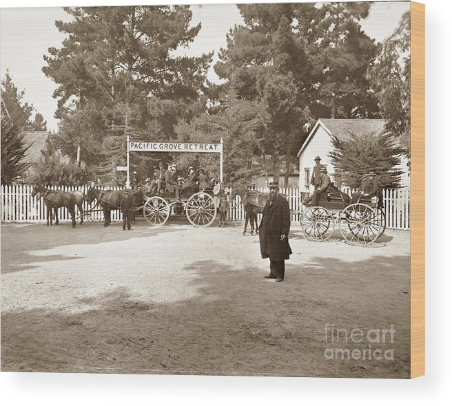 Pacific Grove Wood Print featuring the photograph Pacific Grove Retreat Gate On Lighthouse At Grand Aves With O. J. Johnson Circa 1880 by California Views Archives Mr Pat Hathaway Archives