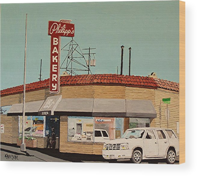 Philipp's Bakery Wood Print featuring the painting Philipp's Bakery No. 2 by Paul Guyer