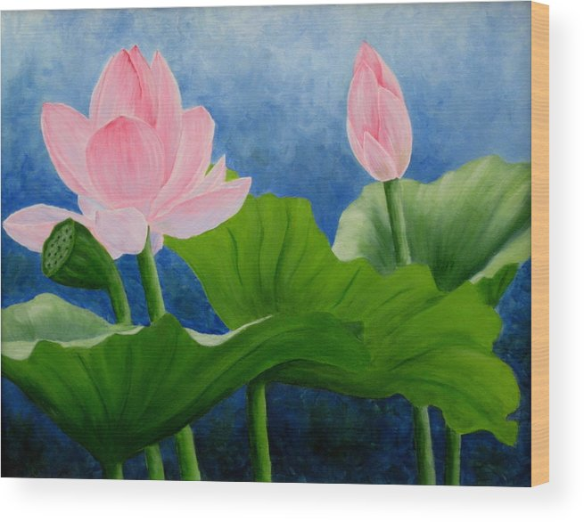 Oil Wood Print featuring the painting Pink Lotus On Blue Sky by Darla Brock