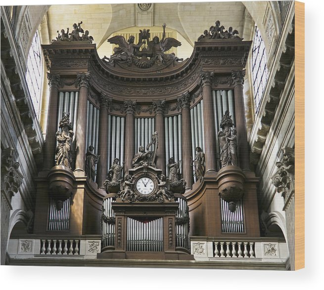 Pipe Organ In St Sulpice Wood Print