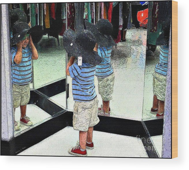 Kid Wood Print featuring the photograph Playing Dressup by Nancy Stein