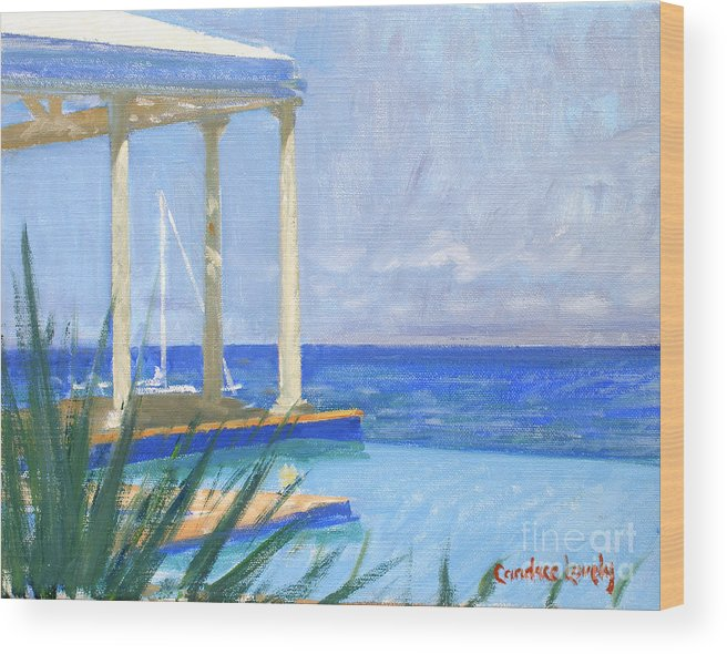 Infinity Pool Wood Print featuring the painting Pool Cabana Morning by Candace Lovely