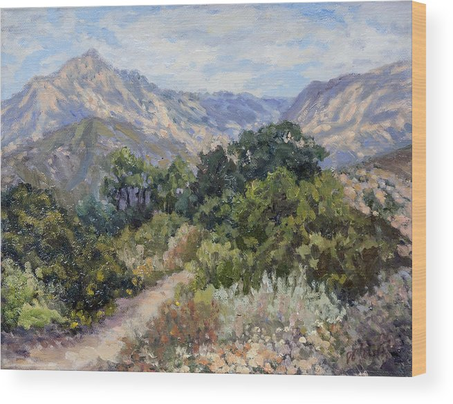 Landscape Wood Print featuring the painting Porter Trail by Patricia Cluche