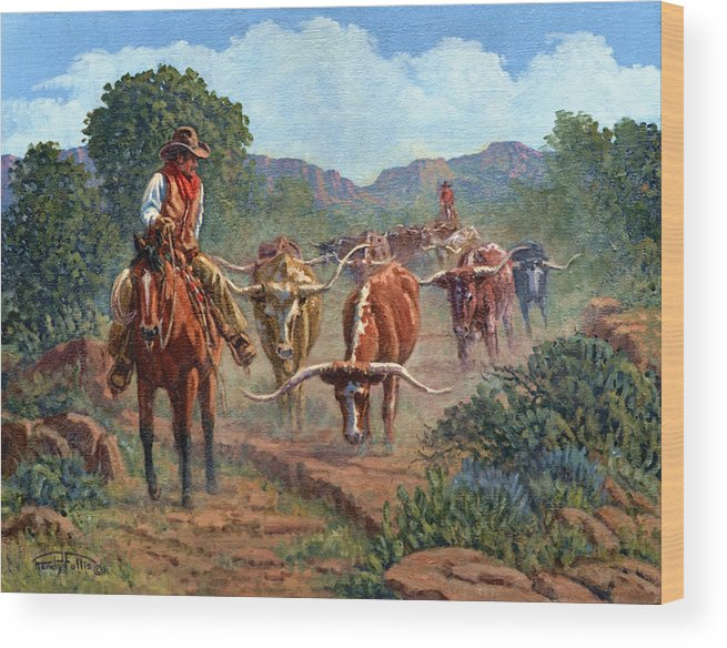 Cowboy Wood Print featuring the painting Riding Point by Randy Follis