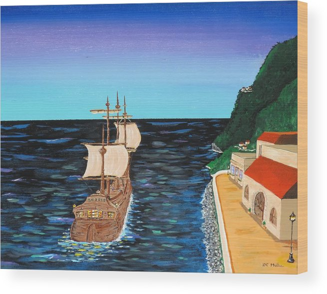 Sail Wood Print featuring the painting Sail At Dusk by Don Miller