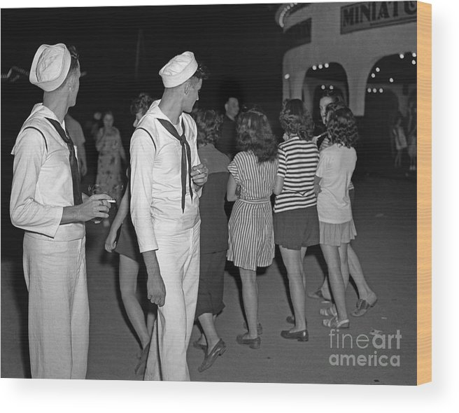 Sailor Wood Print featuring the photograph Sailors Night Out by Martin Konopacki Restoration