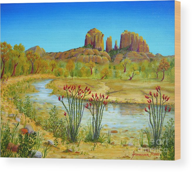 Sedona Wood Print featuring the painting Sedona Arizona by Jerome Stumphauzer