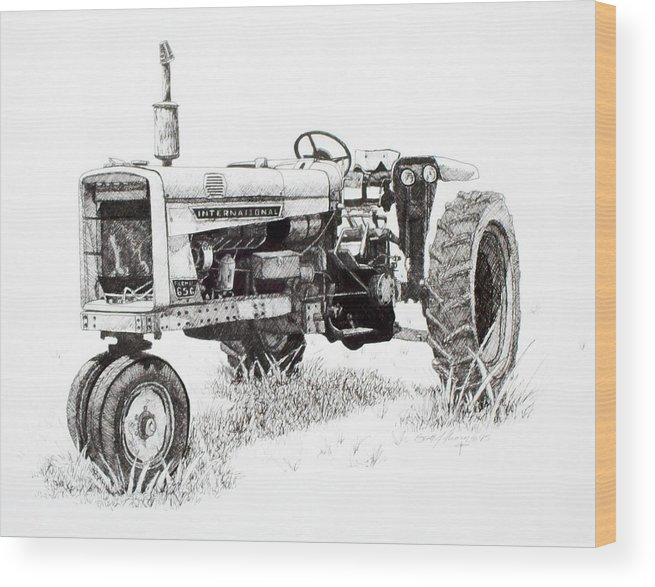 Tractor Wood Print featuring the drawing Seen Better Days by Scott Alcorn