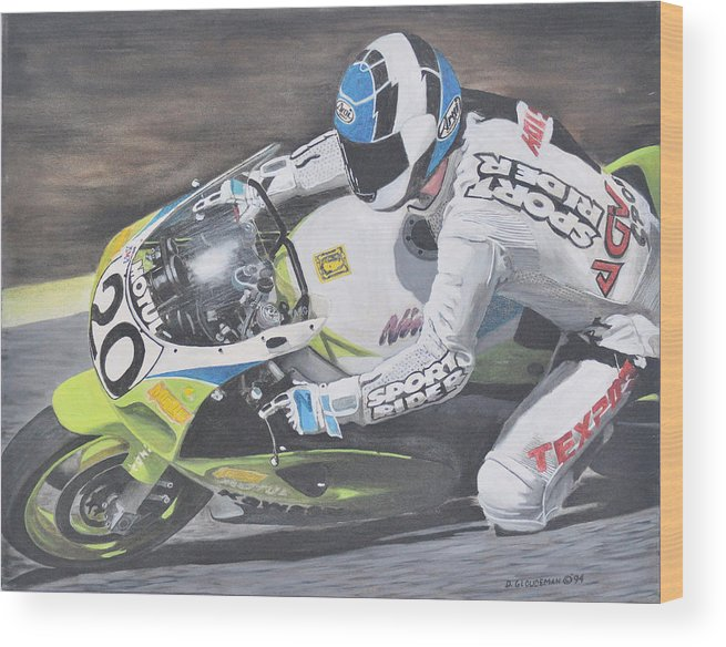 Motorcycle Wood Print featuring the painting Sport Rider by Denis Gloudeman