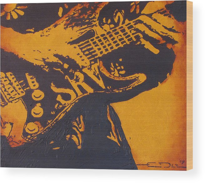 Stephen Ray Vaughan Wood Print featuring the painting Srv Number One Fender Stratocaster by Eric Dee
